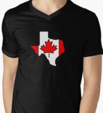 Texas outline Canada flag Men's V-Neck T-Shirt