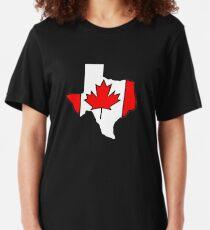 Texas outline Canada flag Slim Fit T-Shirt