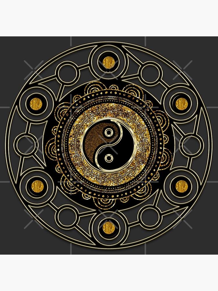 Gold + Black Geometry Yin Yang Mandala by webgrrl