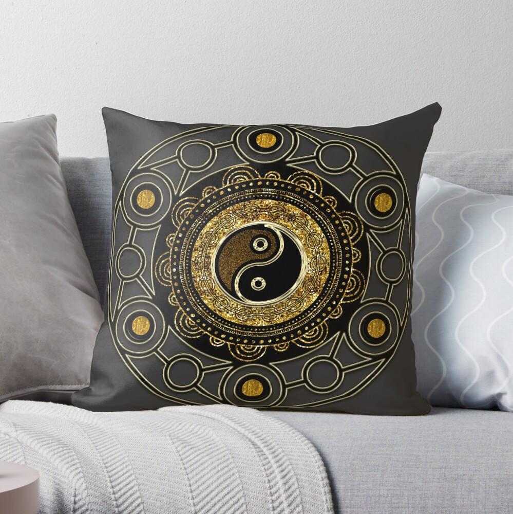 Gold + Black Geometry Yin Yang Mandala Throw Pillow