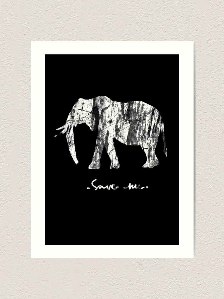 Alternate view of Save me Elephant Art Print