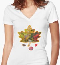 Fall Leaves Women's Fitted V-Neck T-Shirt