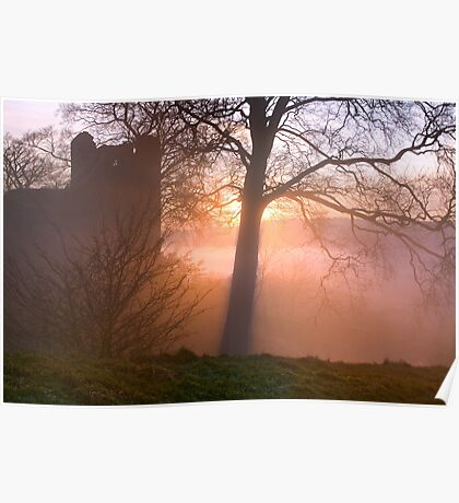 Misty sunset at Kendal Castle Poster