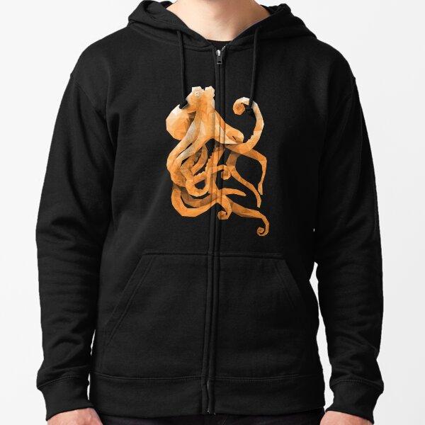 Polygonal Octopus Zipped Hoodie