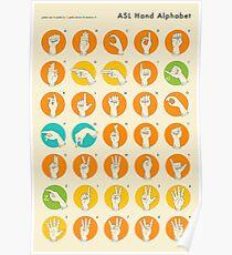 AMERICAN SIGN LANGUAGE HAND ALPHABET Poster