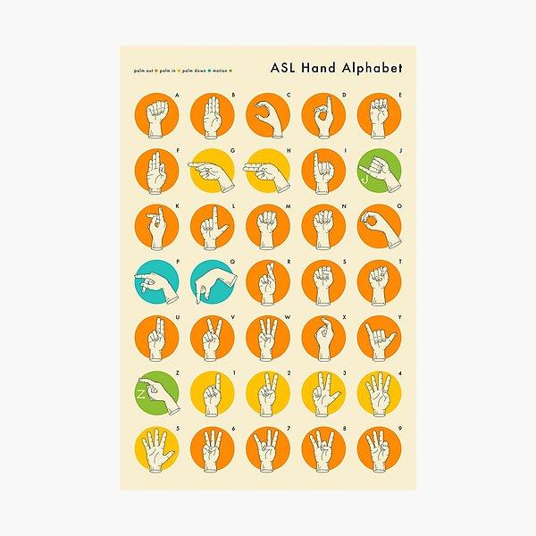 AMERICAN SIGN LANGUAGE HAND ALPHABET Photographic Print