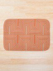 Doors & corners optical art pattern in orange and beige Bath Mat