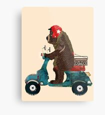 scooter bear Metal Print