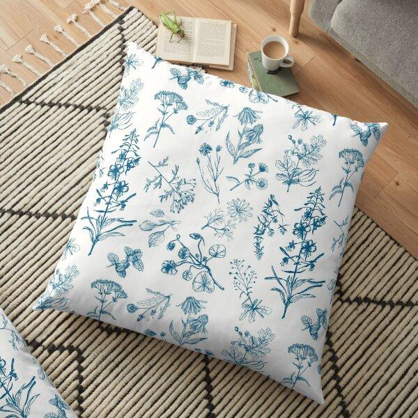Summer herbs indigo version Floor Pillow
