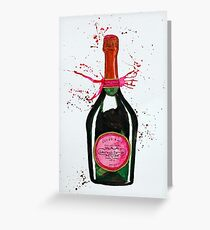 Pink Champagne Bottle Greeting Card