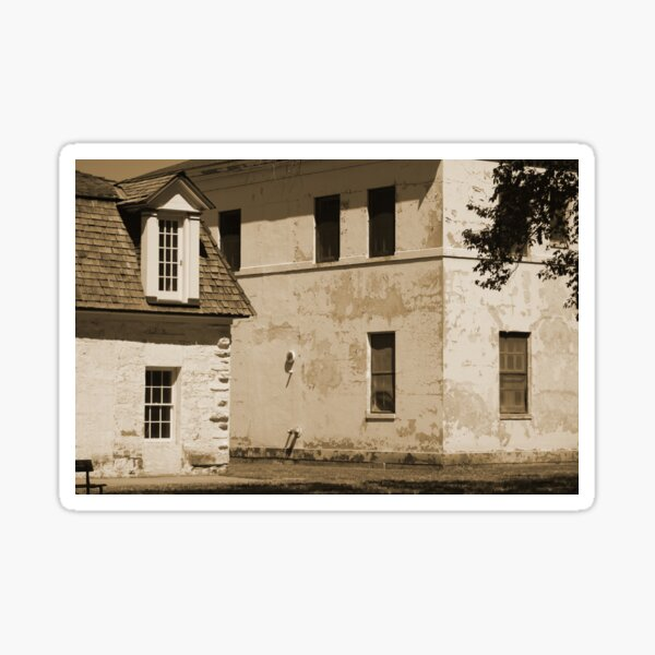 Quarters and Hospital at Fort Stanton New Mexico in Sepia Sticker