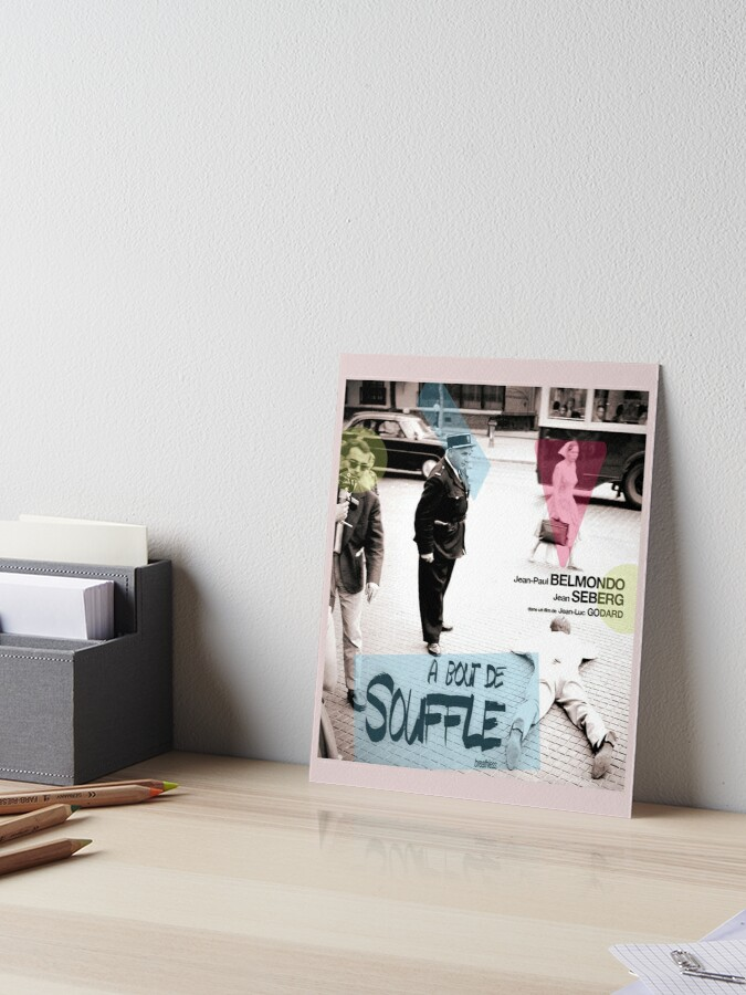 A Bout De Souffle Breathless Jean Luc Godard Colour Collage Art Board Print By Amberflash Redbubble