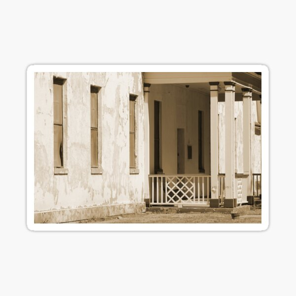Angled View of Officer's Quarters at Fort Stanton New Mexico in Sepia Sticker