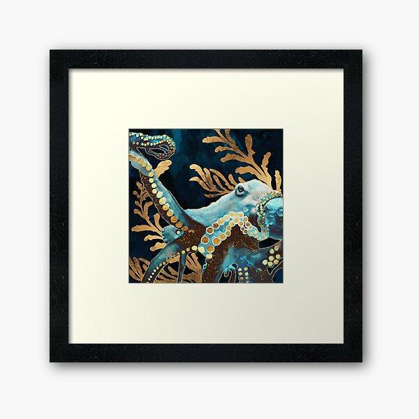 Indigo Octopus Framed Art Print