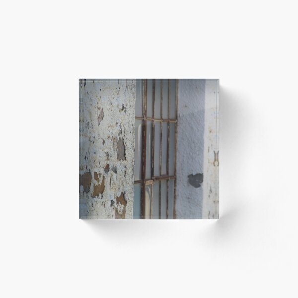 Rusted Window of Barack at Fort Stanton New Mexico Acrylic Block