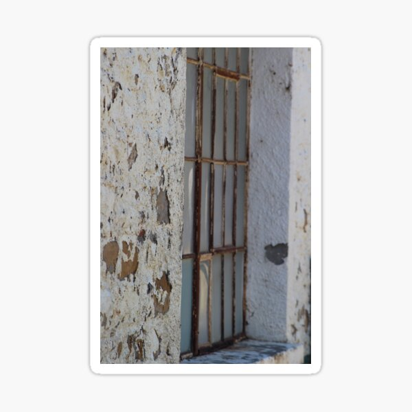 Rusted Window of Barack at Fort Stanton New Mexico Sticker