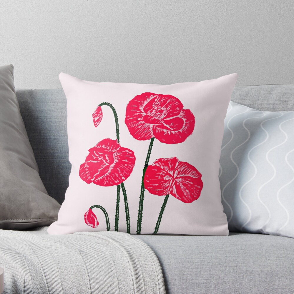 Poppy delight Throw Pillow