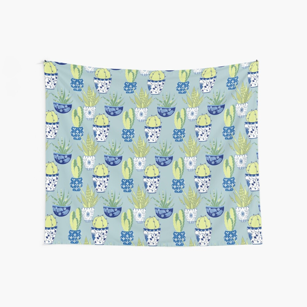 Chinoiserie Cactus Garden Wall Tapestry