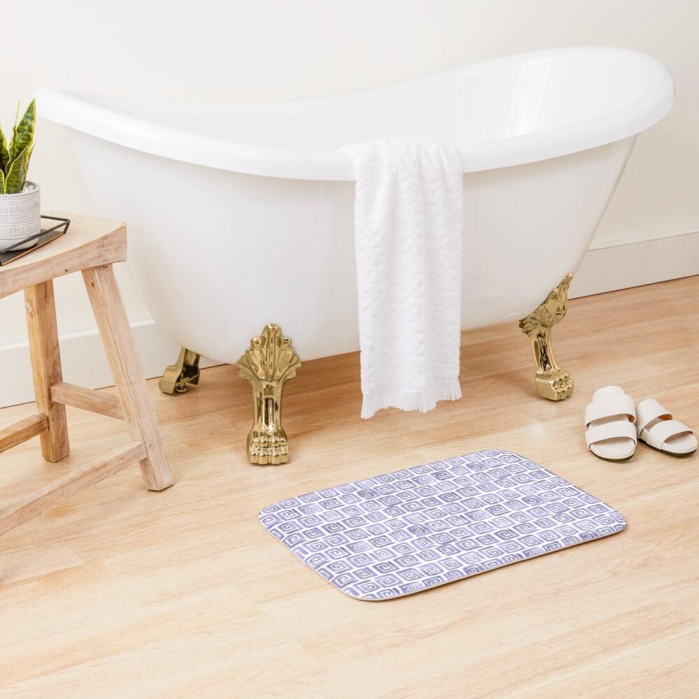 Watercolor Greek Key Pattern - Lilac Bath Mat