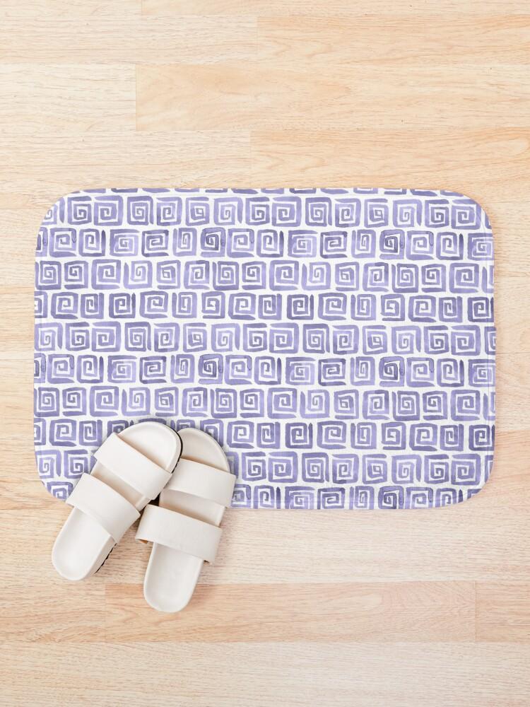 Alternate view of Watercolor Greek Key Pattern - Lilac Bath Mat