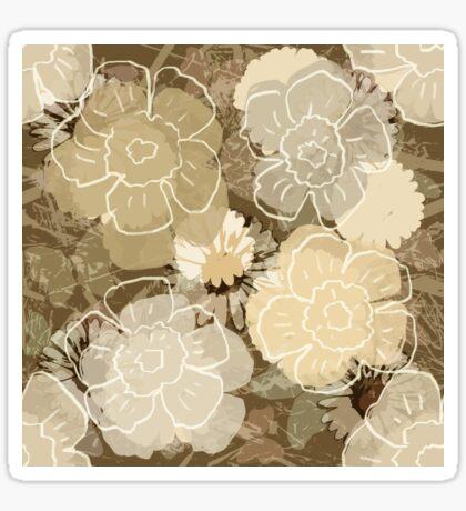 Floral Retro Cream Glossy Sticker