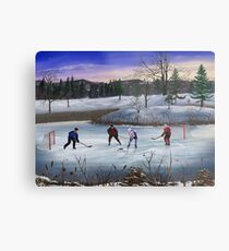 Pond Hockey Metal Print