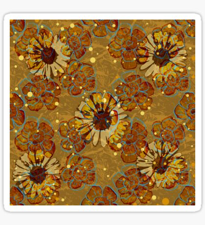 Floral Retro Daisies Glossy Sticker