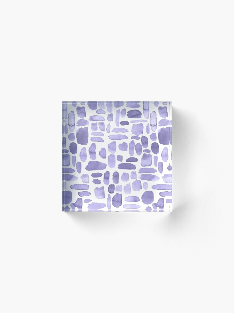 Alternate view of Watercolor Paint Brush Stroke Pattern - Lilac Acrylic Block