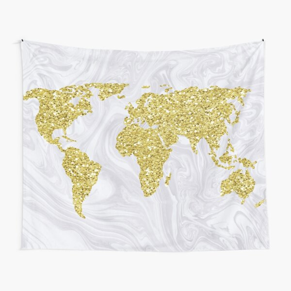 Gold Glitter World Map on White Marble Tapestry
