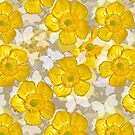 Floral Retro Gold Buttercups by BigFatArts