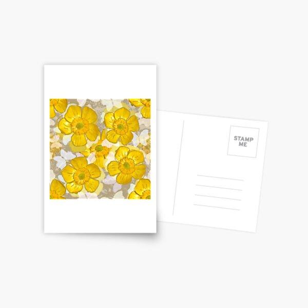 Floral Retro Gold Buttercups Postcard