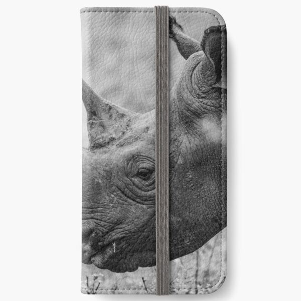 Black and white endangered rhino iPhone Wallet