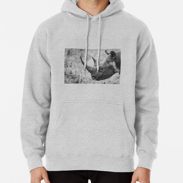 Black and white endangered rhino Pullover Hoodie