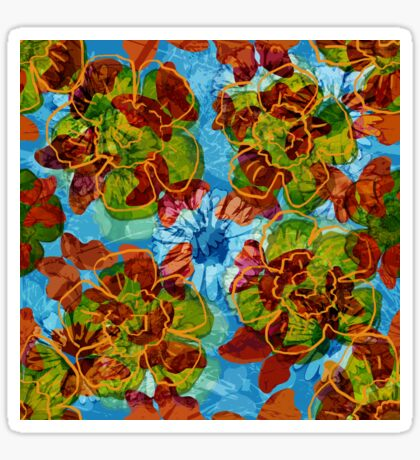 Floral Retro Blue Glossy Sticker
