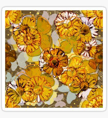 Floral Retro Butterflies Glossy Sticker