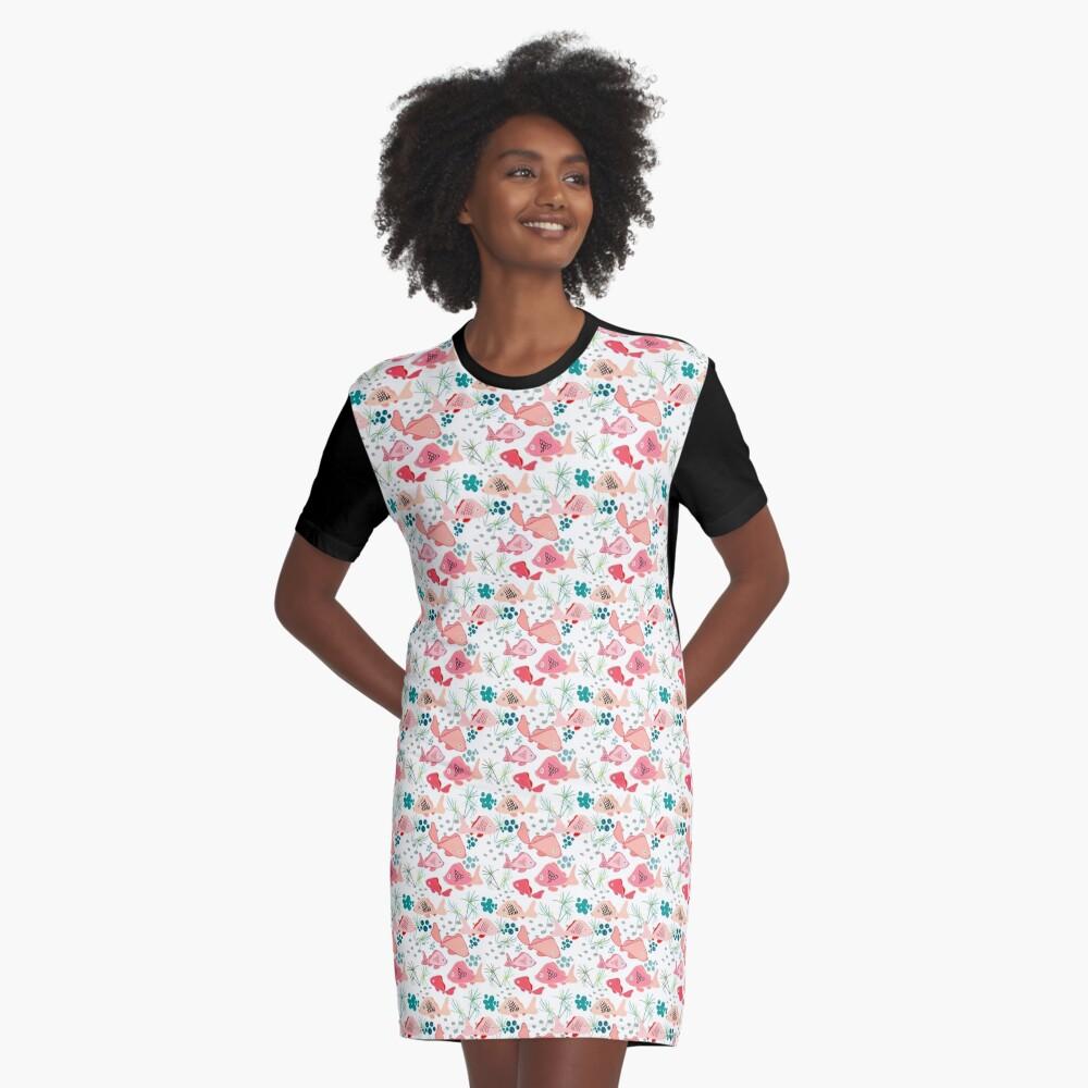 Origami Koi Fish Graphic T-Shirt Dress