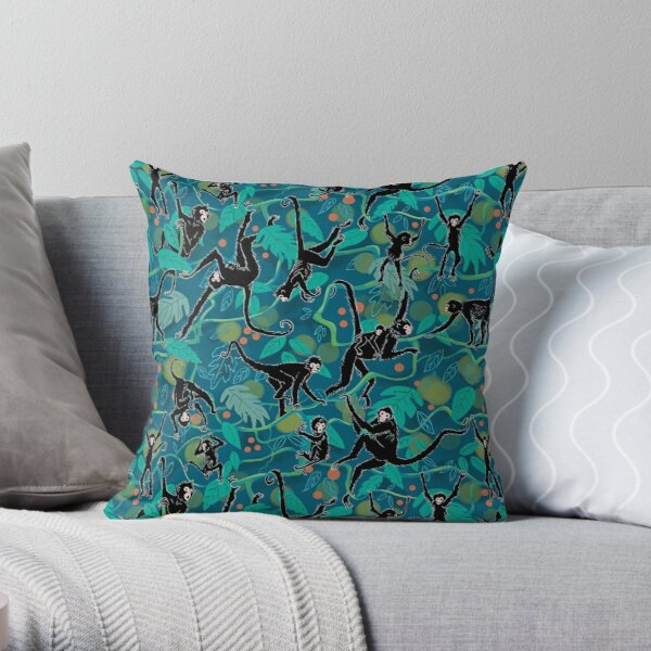 Black Spider Monkeys in Tropical Jungle Throw Pillow