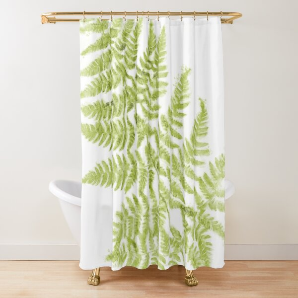 Fresh Fern Airy Modern Botanical Watercolor Painting Shower Curtain