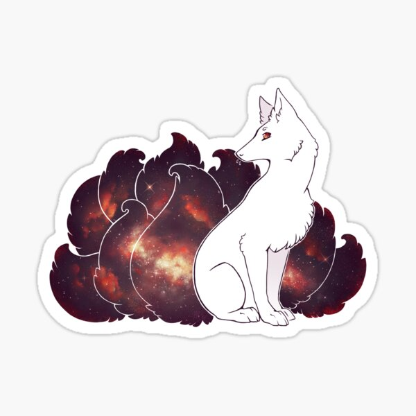 Nine Tails of Space Clouds - Galaxy Kitsune -  Sticker