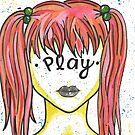"""Inspirational """"Play"""" Woman Face Girl Pink Hair by BarefootDoodles"""