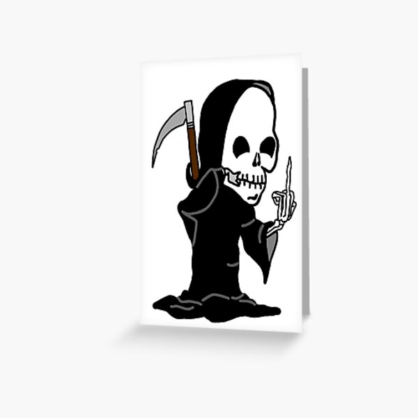 Grim Reaper Giving the Finger Greeting Card