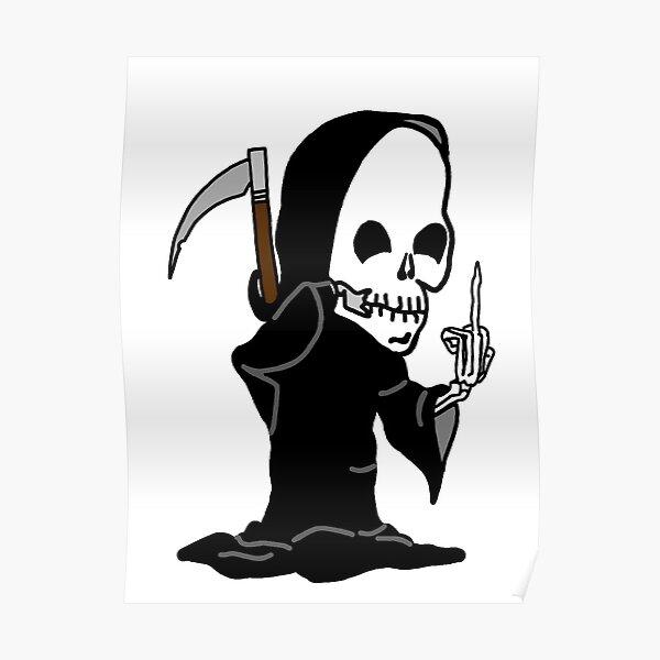 Grim Reaper dando el dedo Póster