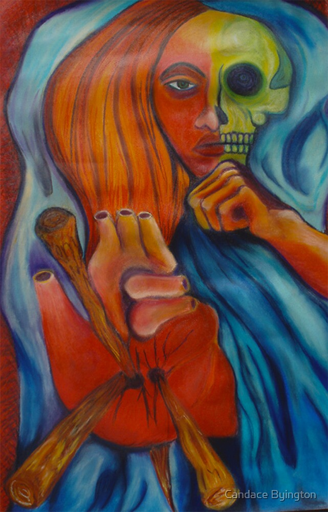 3 of Stakes Tarot Skull Face Woman by Candace Byington
