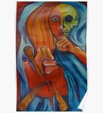 3 of Stakes Tarot Skull Face Woman Poster