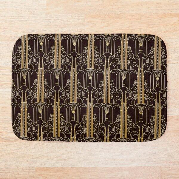 Glamorous Gold-Color Art Deco Pattern Bath Mat