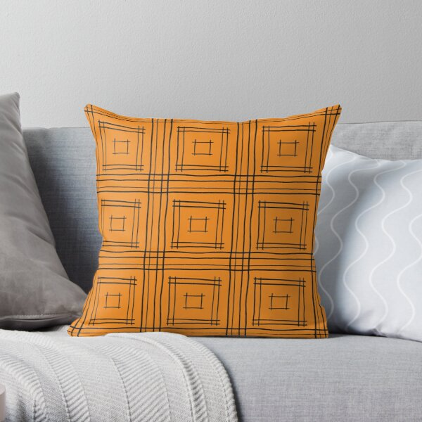 Hand-drawn Squares in Orange and Black Throw Pillow