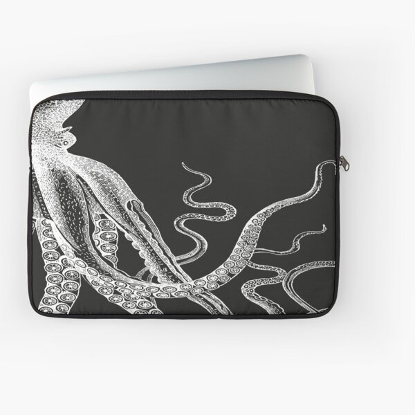 Half Octopus | Right Side | Vintage Octopus | Tentacles | Sea Creatures | Nautical | Ocean | Sea | Beach | Diptych | Black and White |   Laptop Sleeve