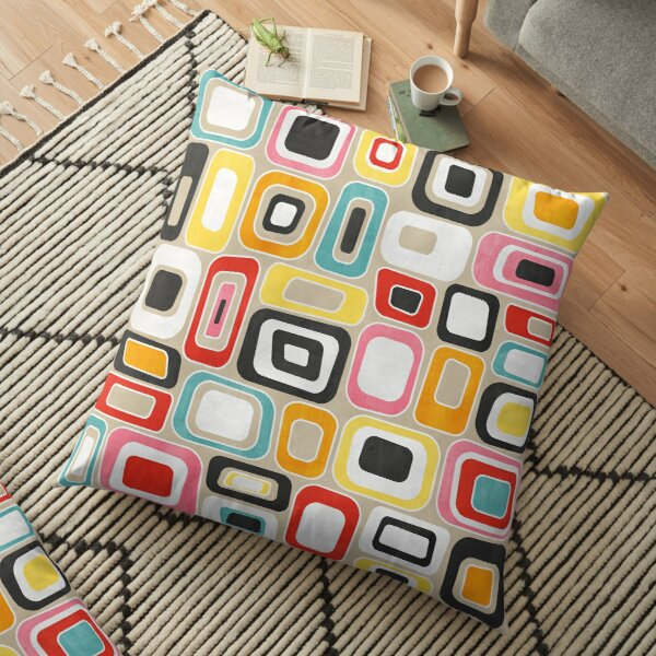 Colorful Watercolor Squares and Rectangles - Mid Century Modern Geometric Floor Pillow