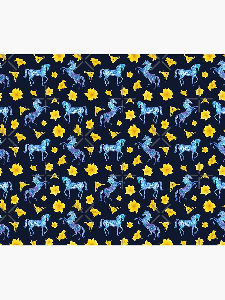 Precious blue horses watercolor floral pattern by andreeadumez