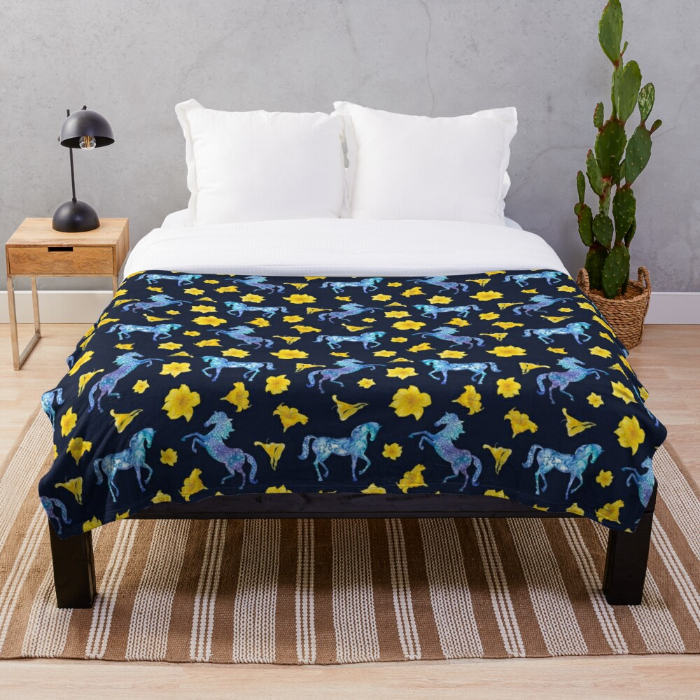 Precious blue horses watercolor floral pattern Throw Blanket